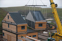 fairisle bird observatory module on crane
